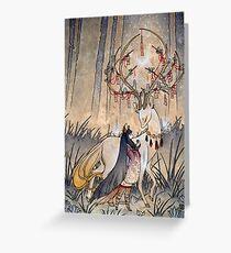 Tarjeta de felicitación El deseo - Kitsune Fox Deer Yokai