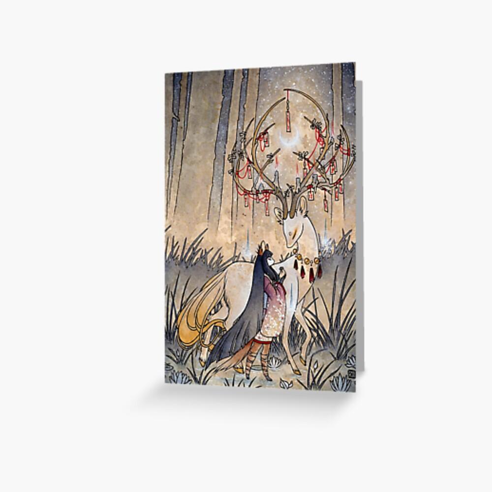 The Wish - Kitsune Fox Deer Yokai Greeting Card