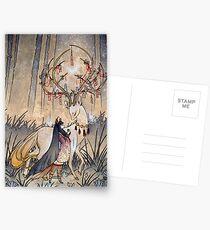 Postales El deseo - Kitsune Fox Deer Yokai