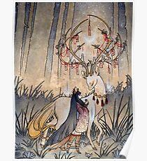 Der Wunsch - Kitsune Fox Deer Yokai Poster