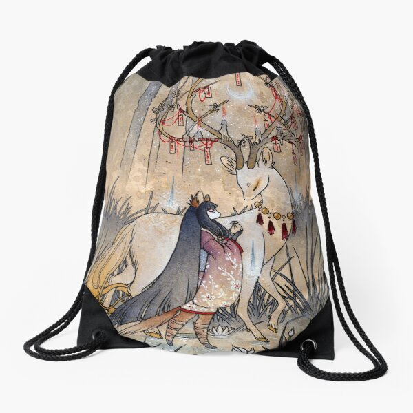 The Wish - Kitsune Fox Deer Yokai Drawstring Bag