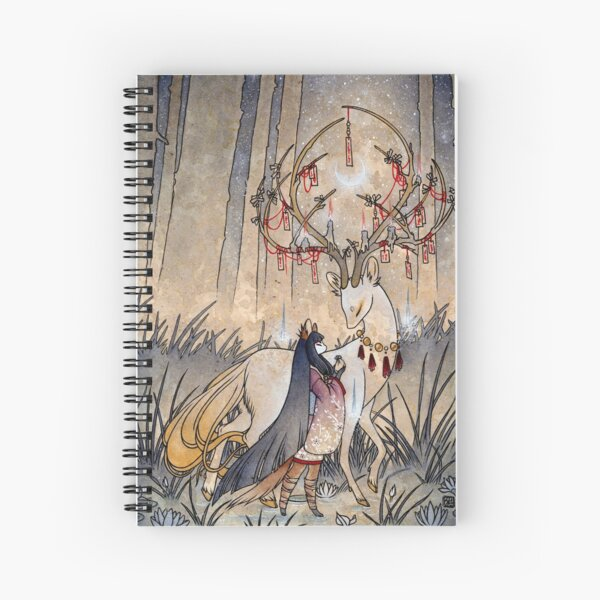 The Wish - Kitsune Fox Deer Yokai Spiral Notebook