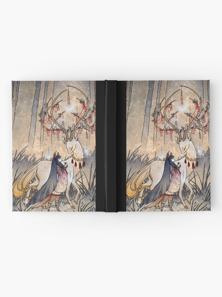 Alternate view of The Wish - Kitsune Fox Deer Yokai Hardcover Journal