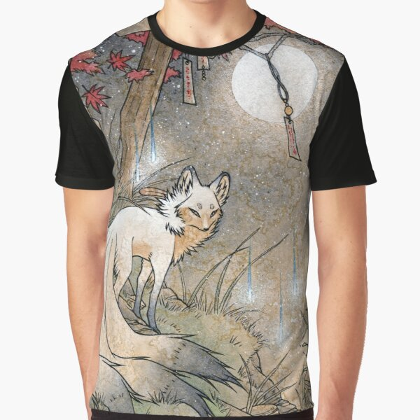 Fox & Wisps - Kitsune Yokai Foxfire  Graphic T-Shirt