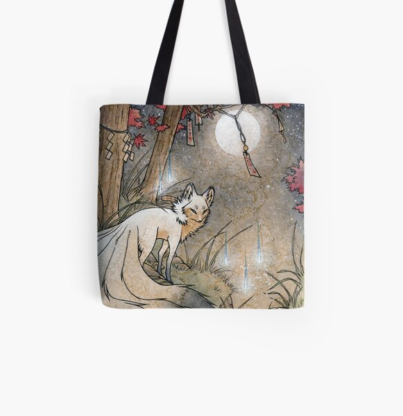 Fox & Wisps - Kitsune Yokai Foxfire  All Over Print Tote Bag