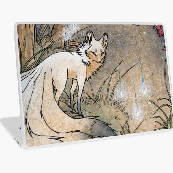 Fox & Wisps - TeaKitsune Fox Yokai Laptop Skin