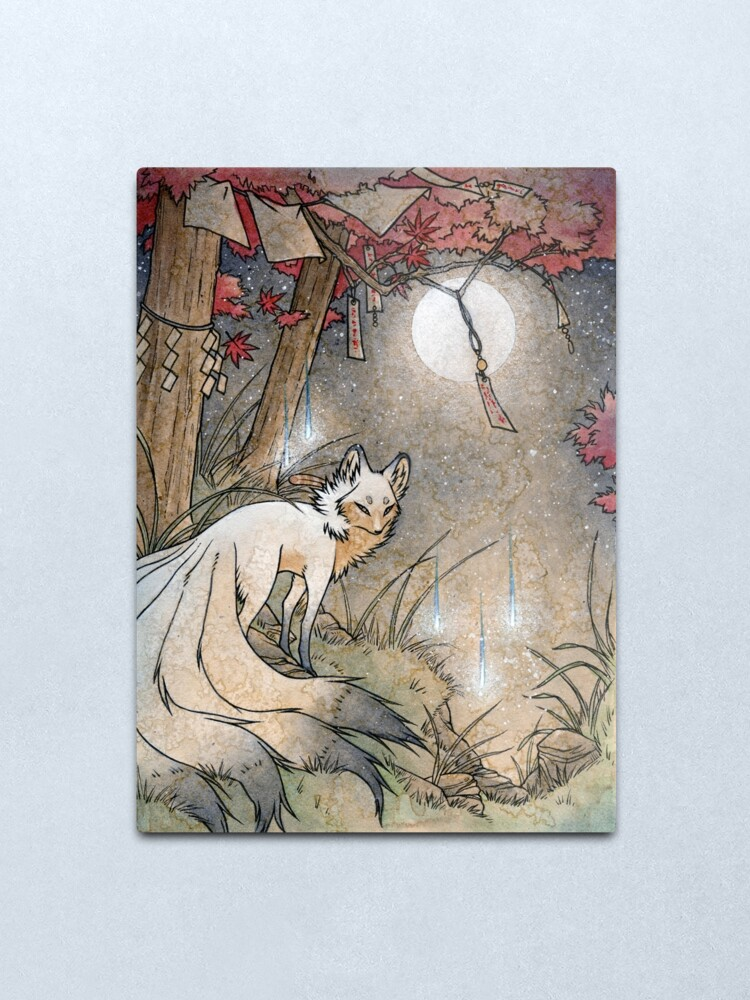 Alternate view of Fox & Wisps - Kitsune Yokai Foxfire  Metal Print