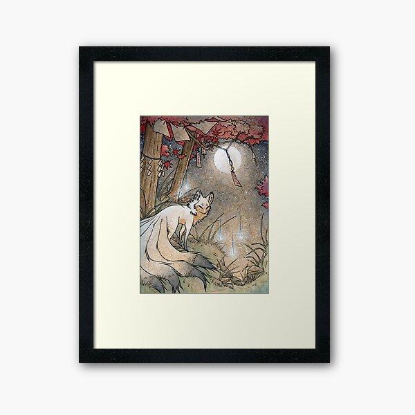 Fox & Wisps - TeaKitsune Fox Yokai Framed Art Print