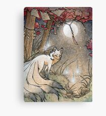Fox & Wisps - Kitsune Yokai Foxfire  Canvas Print