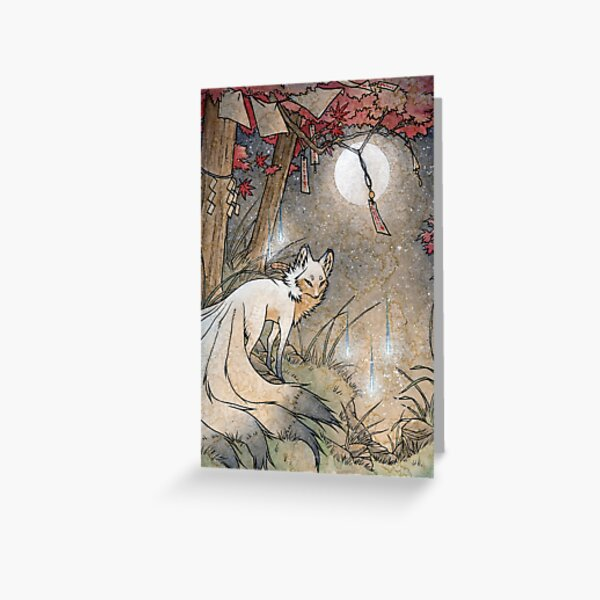 Fox & Wisps - Kitsune Yokai Foxfire  Greeting Card