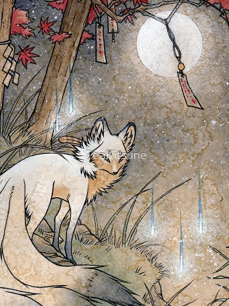 Fox & Wisps - Kitsune Yokai Foxfire  by TeaKitsune