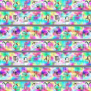 Astrology Zodiac in Neon Pastels by surrealpete