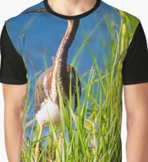 Tri-Colored Heron in the Tall Grass Graphic T-Shirt