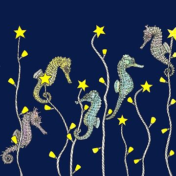 Christmas Light Seaweed with Seahorses by SerenSketches