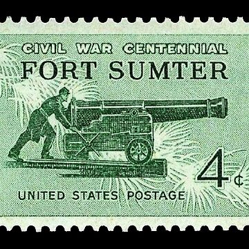 POSTAGE STAMP, FORT SUMTER, 1864 - 1964, Grand Army of the Republic, Union, United Confederate Veterans by TOMSREDBUBBLE