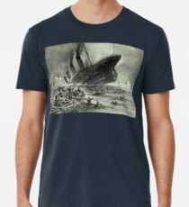 Titanic, 1912, RMS Titanic, Cruise, Ship, Disaster, Untergang der Titanic by Willy Stöwer, 1912 Men's Premium T-Shirt