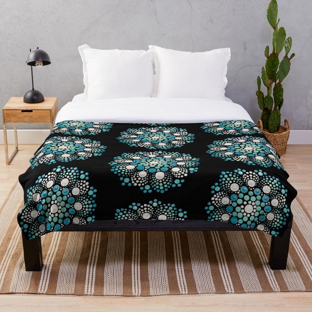 Blue Flower Mandala Throw Blanket