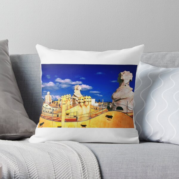 Roof of 'La Padrera' building Throw Pillow