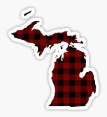 Red and Black Lumberjack Plaid Michigan Silhouette Sticker