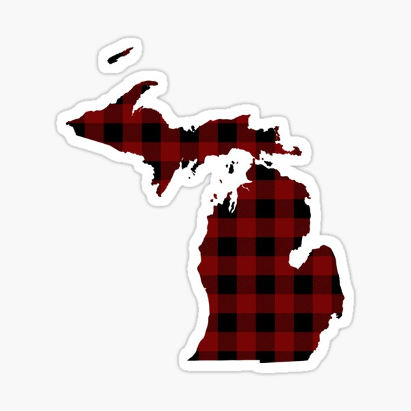 Red and Black Lumberjack Plaid Michigan Silhouette Sticker