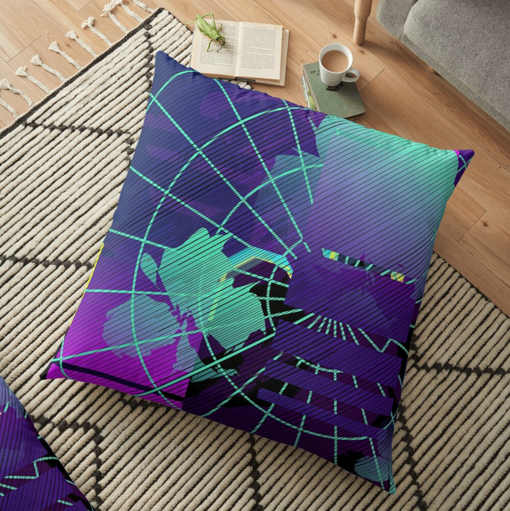 Vaporwaves Floor Pillow