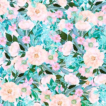 turquoise and pink floral by clemfloral