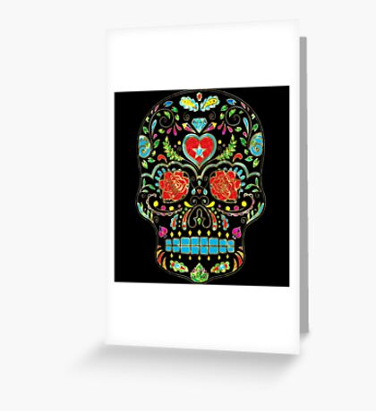 Colorful Floral Sugar Skull Glitter And Gold 2 Greeting Card