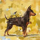 An Impressionistic Painting of a Pinscher on Yellow Background by ibadishi