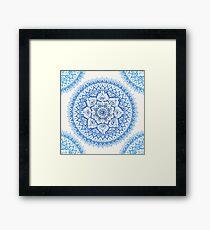 Yin Yang Mandala in sanften Blues Gerahmtes Wandbild