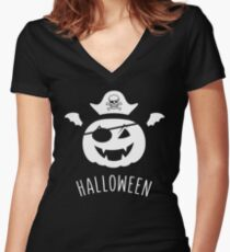 halloween pumkin pirate skelette head bat wings Shirt mit V-Ausschnitt