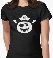 Kürbis Pirat mit Piratenhut und Feldermausflügeln Tailliertes T-Shirt für Frauen