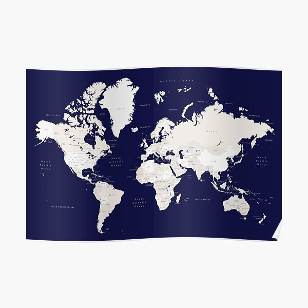 """Navy blue and cream world map, """"Austin""""  Poster"""