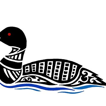 Common Loon Tribal Design - Colored by KitayamaDesigns