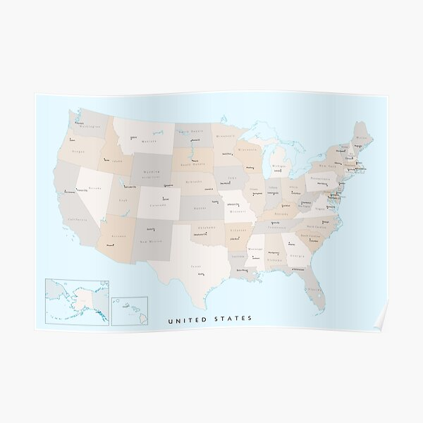 """Map of the USA with states and state capitals, """"Keane"""" Poster"""