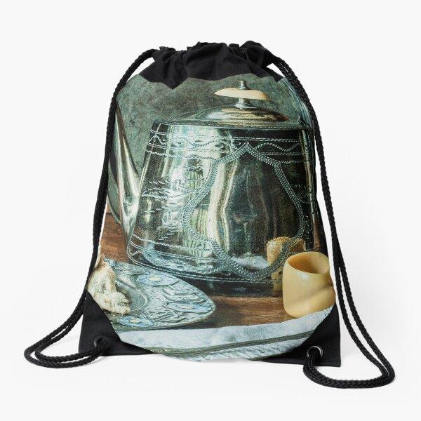 Still life with silver teapot Drawstring Bag