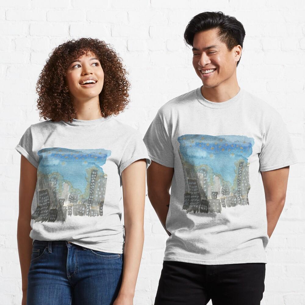 Original Watercolor Painting - City Skyline Classic T-Shirt