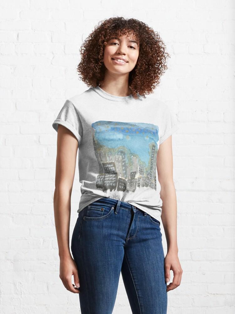 Alternate view of Original Watercolor Painting - City Skyline Classic T-Shirt