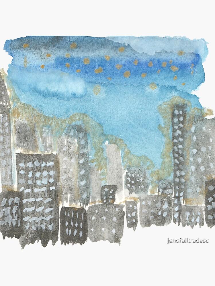 Original Watercolor Painting - City Skyline by jenofalltradesc