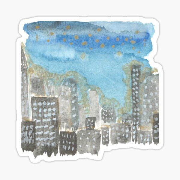Original Watercolor Painting - City Skyline Sticker