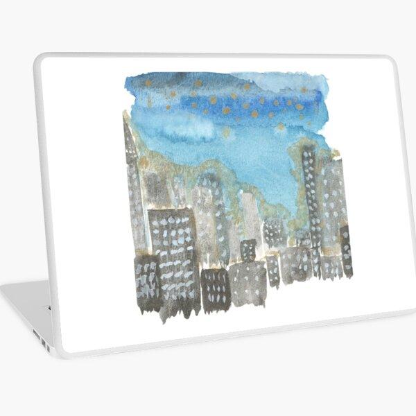 Original Watercolor Painting - City Skyline Laptop Skin