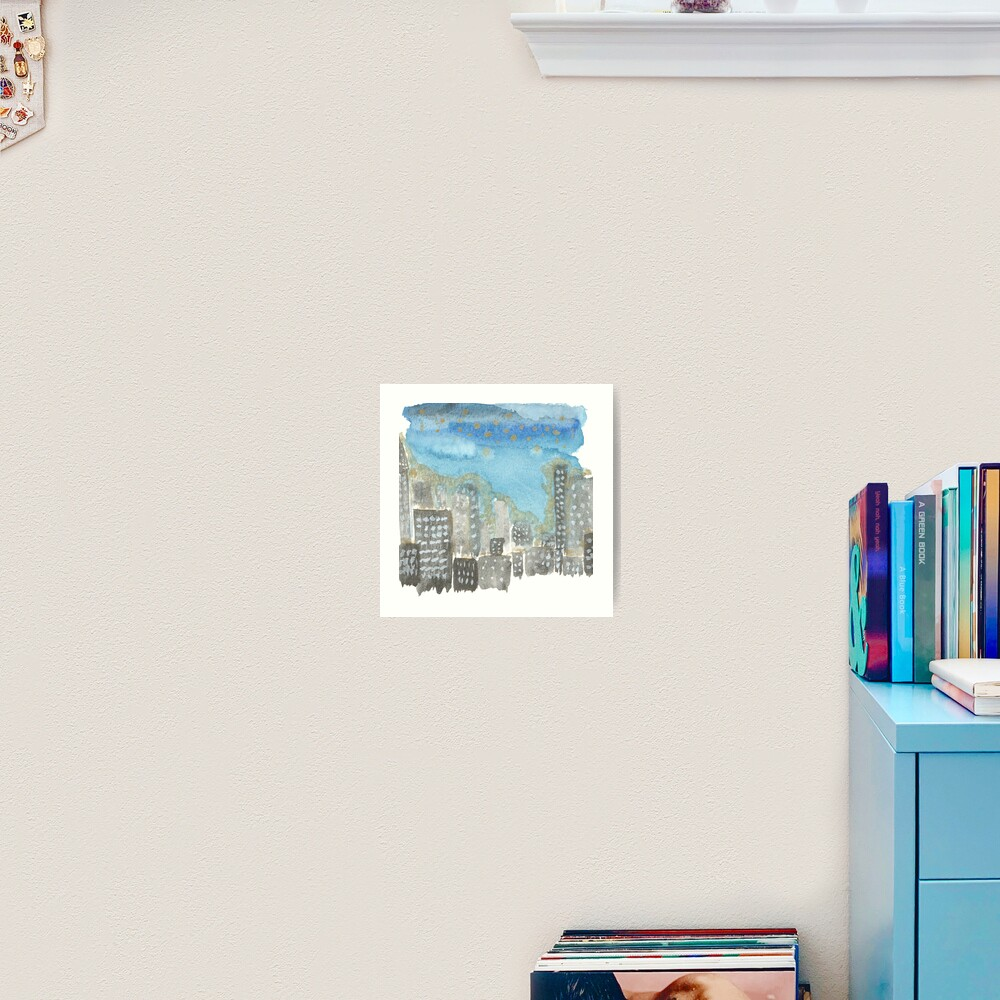 Original Watercolor Painting - City Skyline Art Print