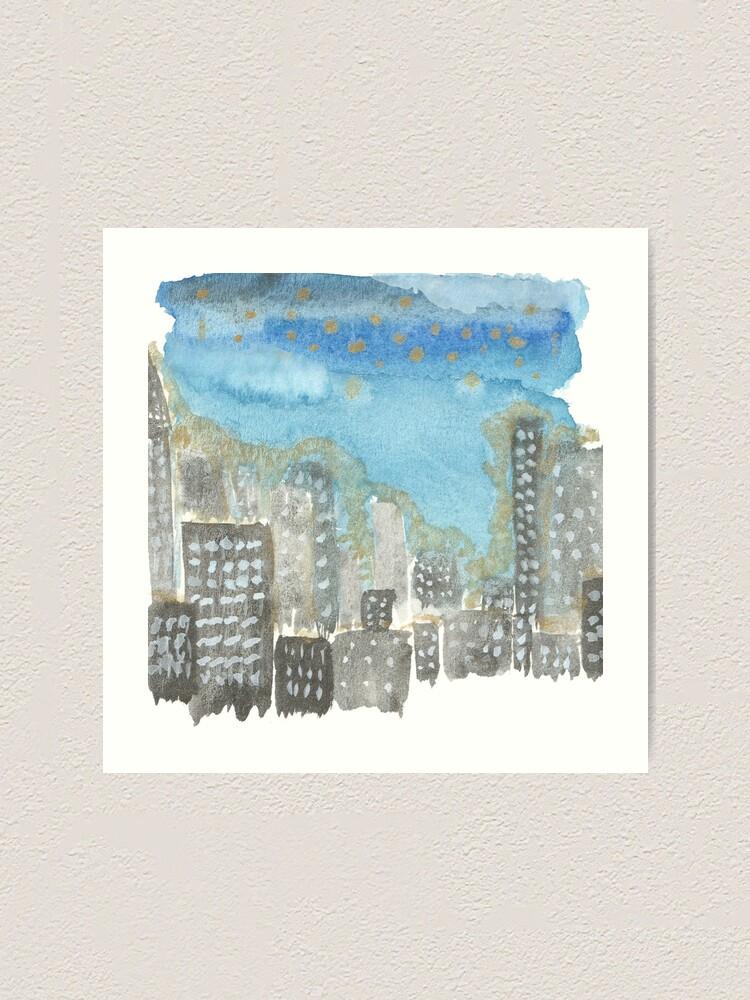 Alternate view of Original Watercolor Painting - City Skyline Art Print
