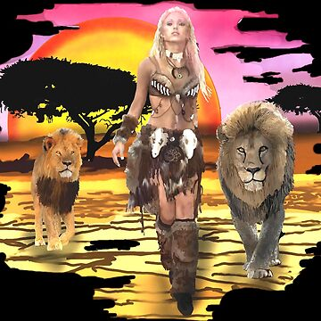 Woman with lion, Amazon, Africa, zodiac sign, cat by matches1