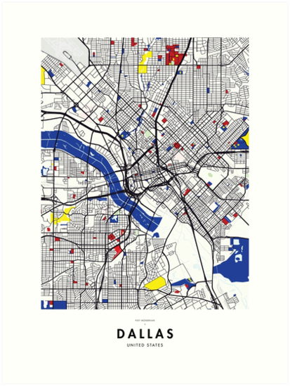 Dallas United States Map X Piet Mondrian Art Prints By Not A