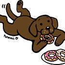 Chocolate Labrador and Donuts by HappyLabradors