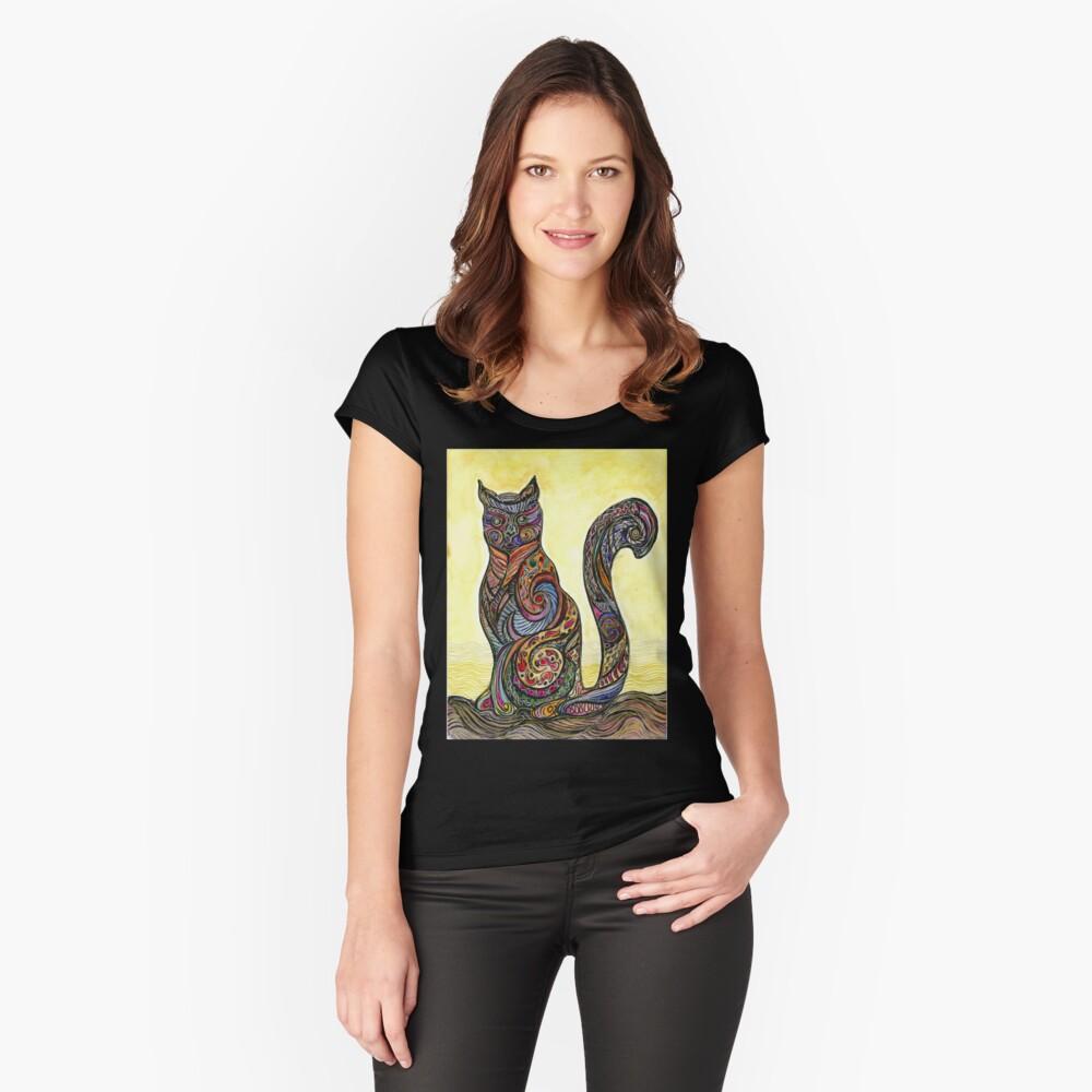 Cat of Many Colors Camiseta entallada de cuello ancho