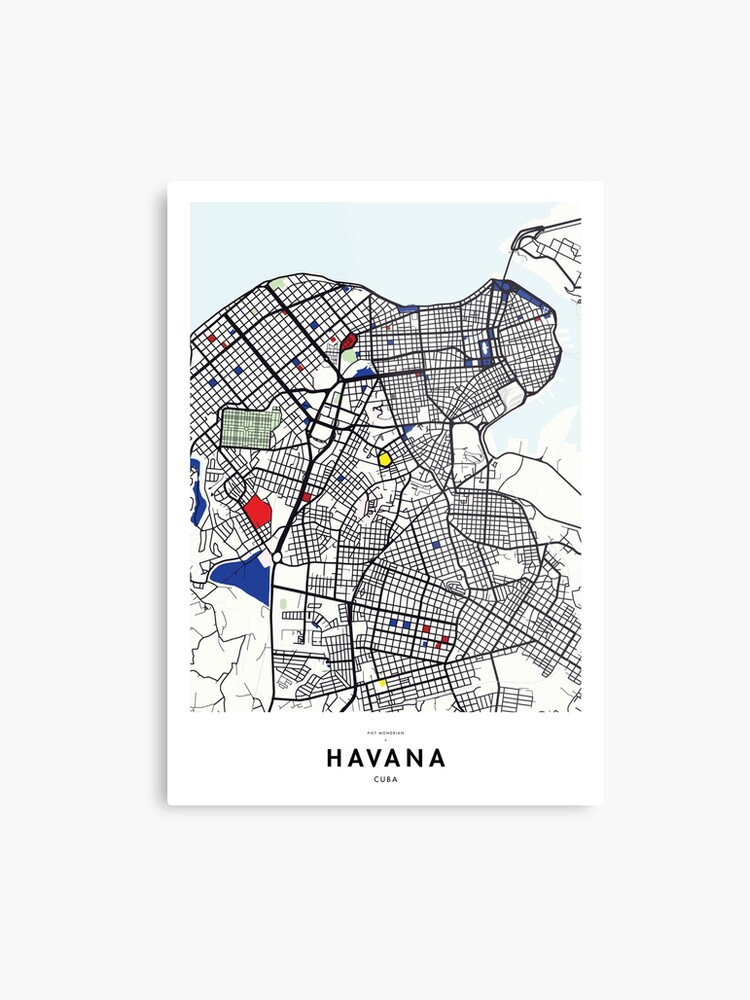picture relating to Printable Map of Havana known as Havana (Cuba) Map x Piet Mondrian Steel Print