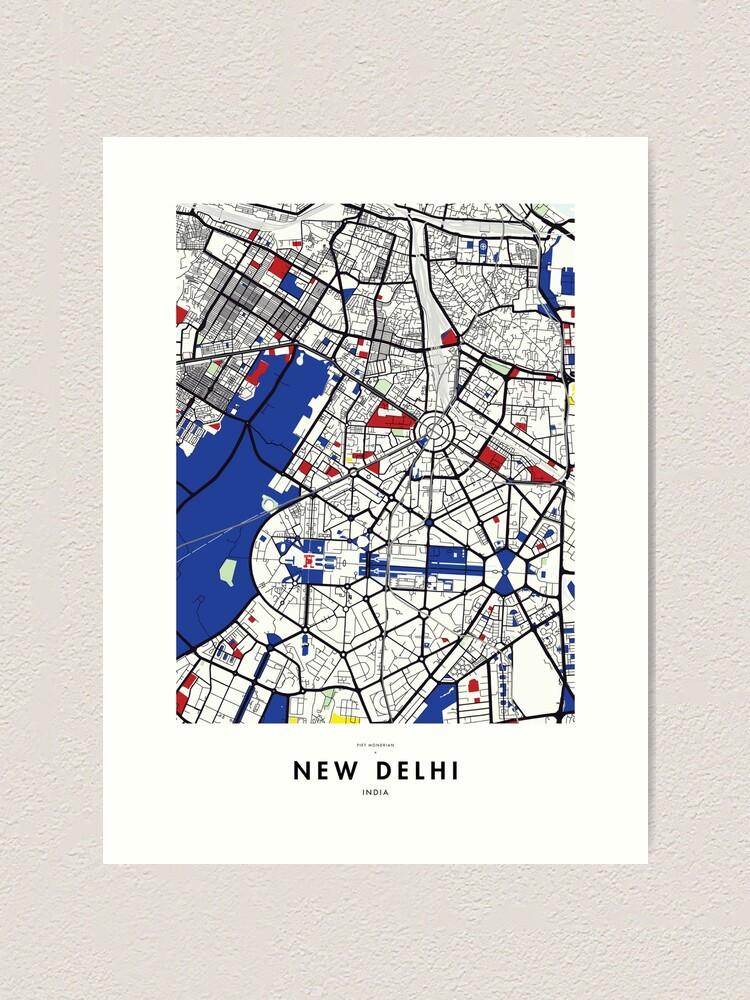 New Delhi (India) Map x Piet Mondrian | Art Print on istanbul turkey map, mexico city map, delhi airport map, calcutta map, hindu kush map, moscow map, islamabad map, delhi india poster, beijing china map, shanghai map, barcelona spain map, lisbon map, dhaka bangladesh map, karachi map, kolkata map, lahore pakistan map, manila map, kashmir map, kathmandu nepal map, guangzhou china map,