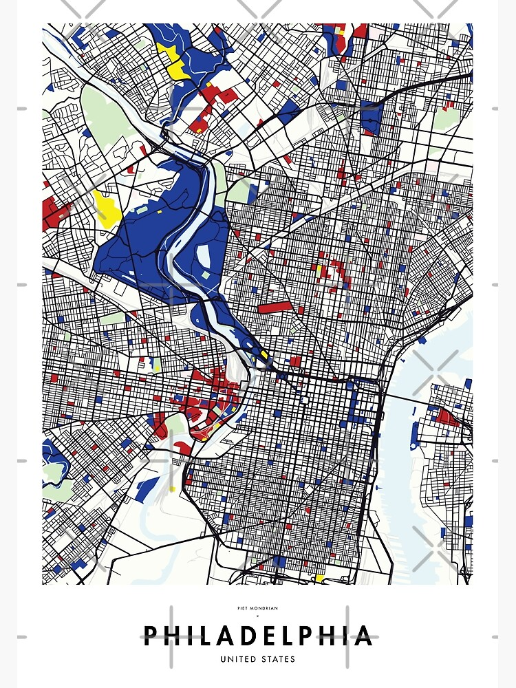 Philadelphia (United States) Map x Piet Mondrian | Metal Print