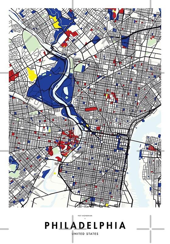 Philadelphia (United States) Map x Piet Mondrian | Art Print